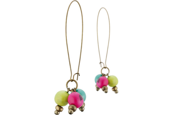 Boucles d'oreilles dormeuses coloris bronze 3 perles açais multicolores All Gypsies