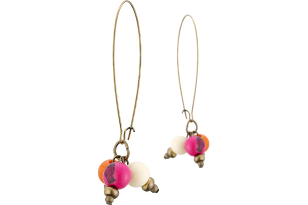 Boucles d'oreilles dormeuses coloris bronze 3 perles açais All Gypsies