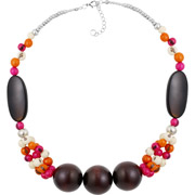 Bijoux All Gypsies - Collier perles en bois, perles Açai du Brésil blanc cassé, orange, fuschia