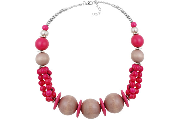 Collier perles en bois rose et gris, perles Açai du Brésil fuschia All Gypsies
