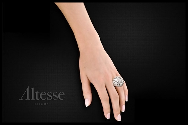 Bague Rosetta en argent 925 rhodié, brillants, 14.2g, T52 Altesse, packaging