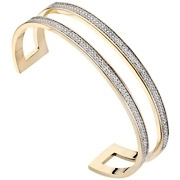 Bijoux Altesse - Bracelet manchette Linea plaqué or 18K, brillants, Ø55mm