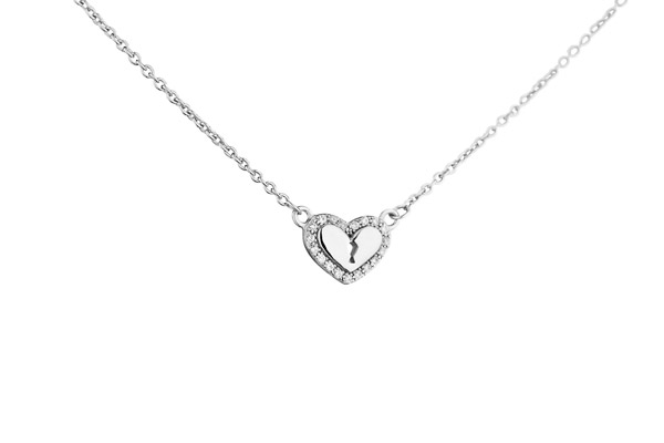 Collier Lovely en argent 925 rhodié, brillants, 2.51g Altesse, gros plan