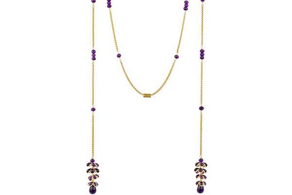 Collier cravate houblon Intemporel, dorure à l'or fin, pâte de verre, violet Augustine