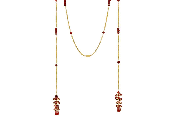 Collier cravate houblon Intemporel, dorure à l'or fin, pâte de verre, corail Augustine