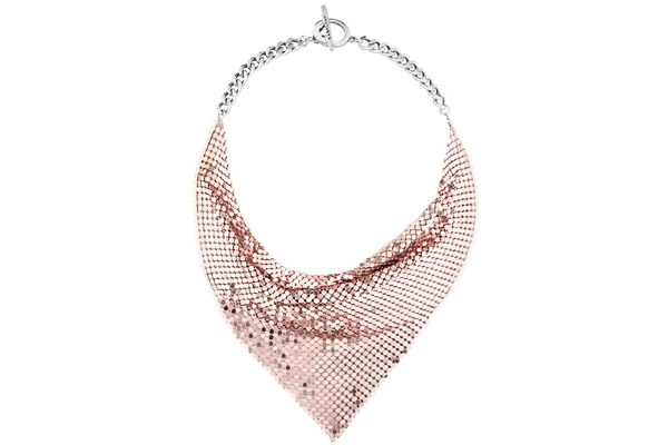 Collier cotte de maille ras de cou Rebellion, Rose Babylone