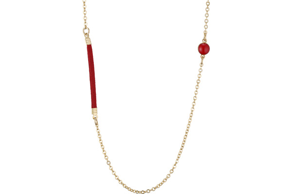 Collier Bessie, dorure or fin, bordeaux Bastille