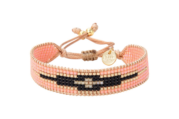 Bracelet cordon L Black and roses, dorure or fin, perle Miyuki, noir-dore-rose Belle Mais Pas Que