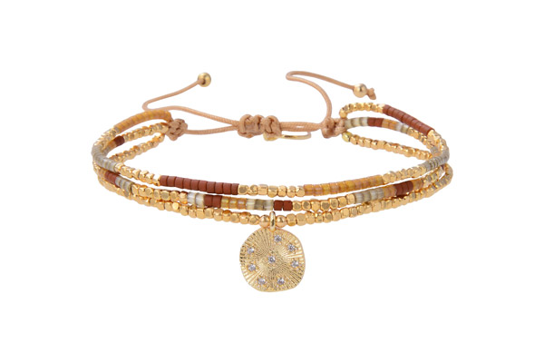 Bracelet cordon Indian Gold, dorure or fin, perle Miyuki, dore-marron-orange Belle Mais Pas Que