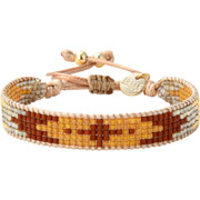Bijoux Belle Mais Pas Que - Bracelet cordon Indian Gold, dorure or fin, perle Miyuki, dore-beige-orange