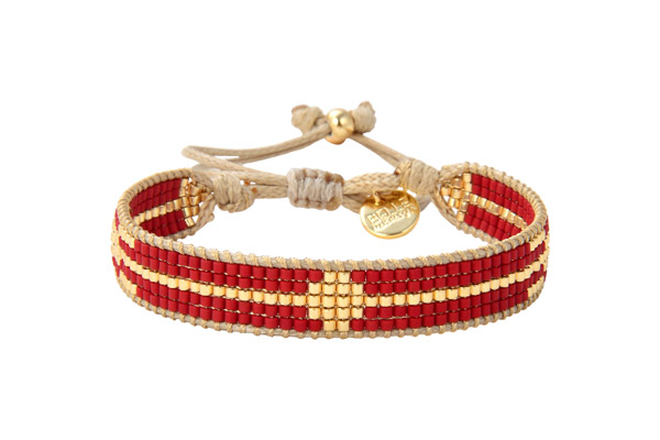 Bracelet cordon Golden Royal, dorure or fin, perle Miyuki, dore-rouge Belle Mais Pas Que