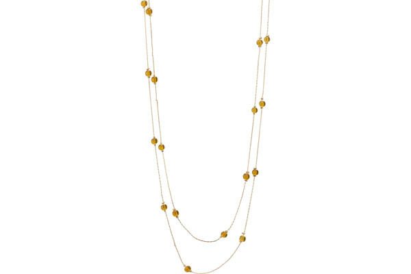 Collier 2 rangs Bérénice, dorure or jaune, Verre taillé, orange Bérénice