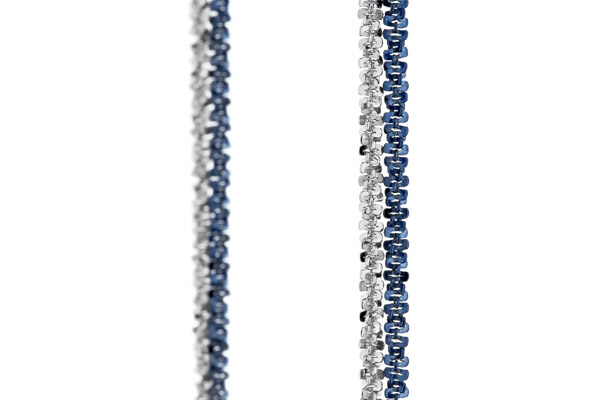 Bracelet chaîne 2 rangs Catch the Rainbow en argent 925, bleu, 2.3g Bond, gros plan