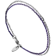 Bijoux Bond - Bracelet chaîne 2 rangs Catch the Rainbow en argent 925, violet, 2.3g