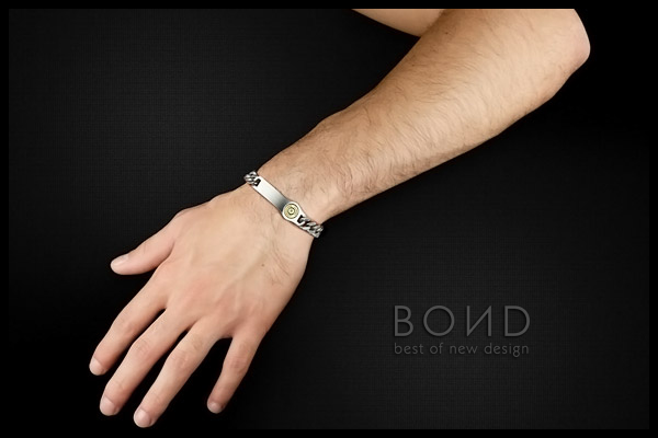 Bracelet homme Sniper en acier Bond, packaging