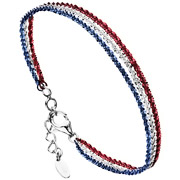 Bijoux Bond - Bracelet chaîne 3 rangs Catch the Rainbow argent 925, bleu-blanc-rouge 3.7g