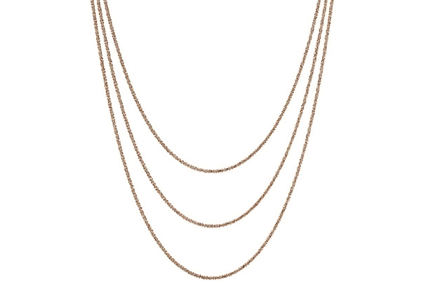Collier 3 rangs argent 925 doré à l'or rose - 15,2 g Bond