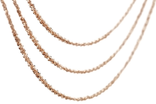 Collier 3 rangs argent 925 doré à l'or rose - 15,2 g Bond, gros plan