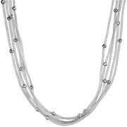 Bijoux Bond - Collier maille filet 5 rangs argent 925 rhodié - 10 g