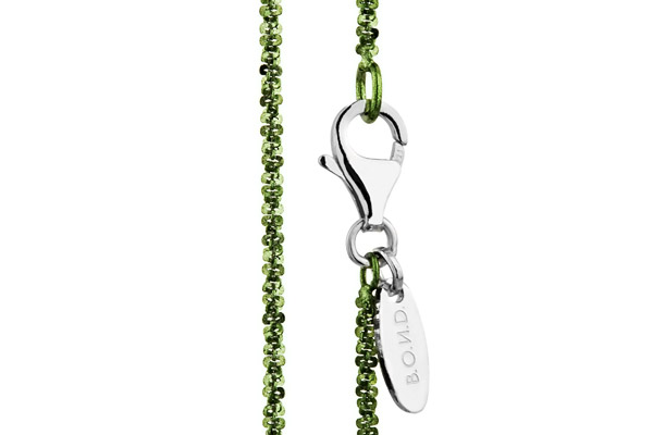 Collier Catch the Rainbow en argent 925, olive, 2.6g Bond, gros plan