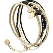 Bijoux By Garance - Bracelet multi-tour Pretty noir, dorure à l'or fin