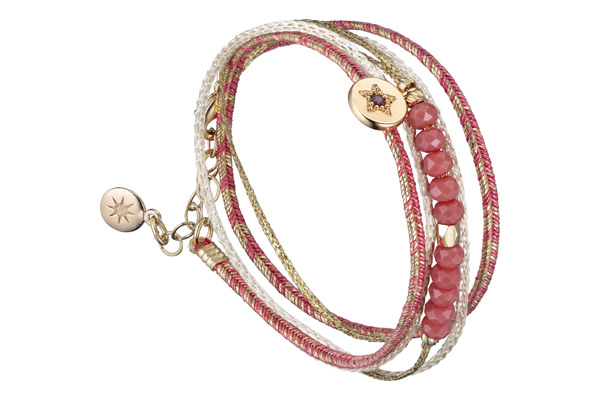 Bracelet multi-tour Toujours, dorure à l'or fin, rose By Garance