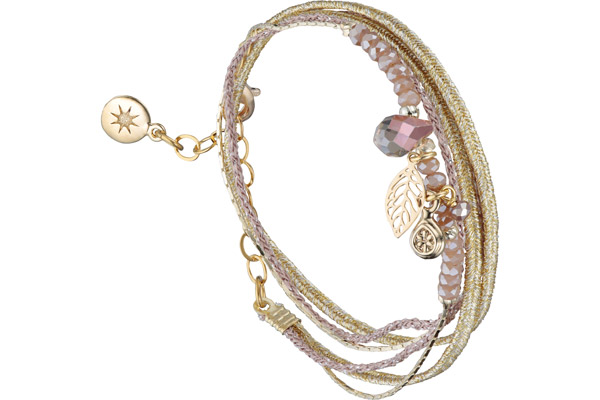 Bracelet multi-tour Pretty, dorure à l'or fin, beige By Garance
