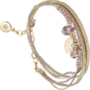 Bijoux By Garance - Bracelet multi-tour Pretty, dorure à l'or fin, beige