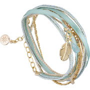 Bijoux By Garance - Bracelet multi-tour Mini Plumy, dorure à l'or fin, turquoise