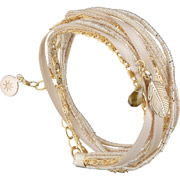 Bijoux By Garance - Bracelet multi-tour Mini Plumy, dorure à l'or fin, beige