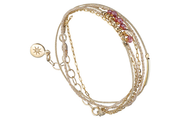 Bracelet multi-tour Cerise, dorure à l'or fin, rose By Garance