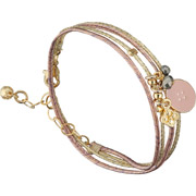 Bijoux By Garance - Bracelet multi-tour Anita, dorure à l'or fin, rose