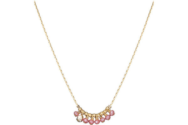 Collier ras de cou Cerise, dorure or 14K, rose By Garance