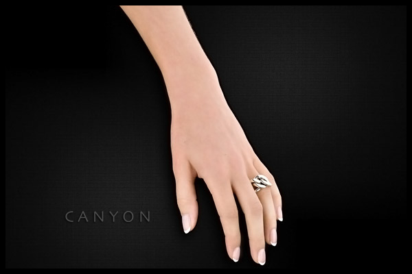 Bague maillons argent 925 - Taille 52 Canyon, plan large