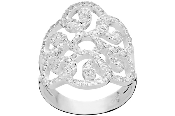 Bague arabesques en argent 925 passivé, brillants, 6.26g, T52 Canyon