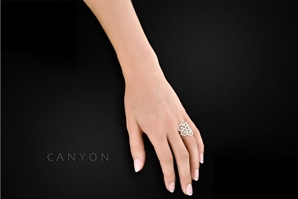 Bague arabesques en argent 925 passivé, brillants, 6.26g, T52 Canyon, packaging