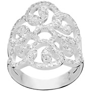 Bijoux Canyon - Bague arabesques en argent 925 passivé, brillants, 6.26g, T52