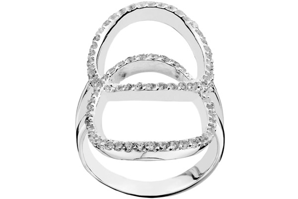 Bague cercles en argent 925 passivé, brillants, 5.32g Canyon T52