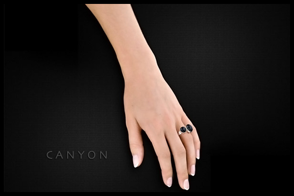 Bague duo Onyx en argent 925 passivé, 5.88g, T56 Canyon, packaging