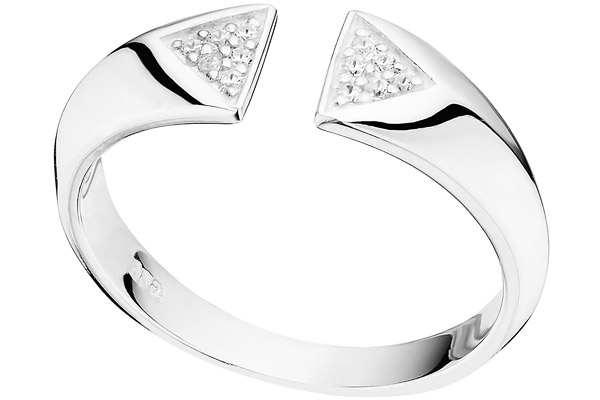 Bague triangles en argent 925 passivé, brillants, 2.8g, T54 Canyon