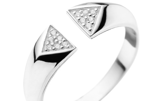Bague triangles en argent 925 passivé, brillants, 2.8g, T54 Canyon, gros plan