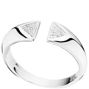Bijoux Canyon - Bague triangles en argent 925 passivé, brillants, 2.8g, T54