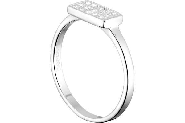 Bague recatangle en argent 925 passivé, brillant, 2g, T56 Canyon