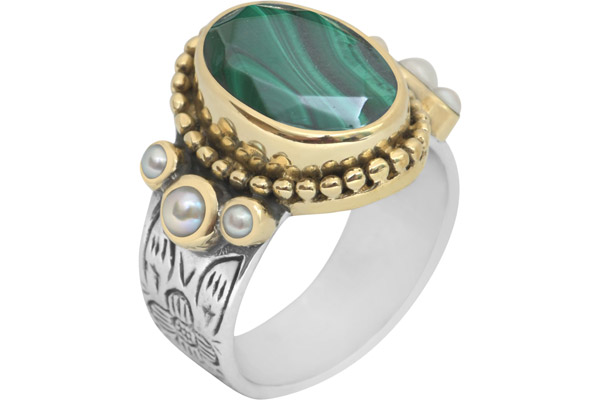 Bague en argent 925, dorure or jaune, Malachite, 9.1g, T50 Canyon