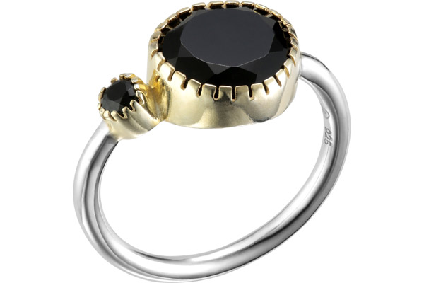 Bague duo en argent 925, dorure en or, Onyx, 2.96g, T54 Canyon