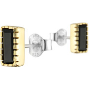 Bijoux Canyon - Boucles d'oreilles puces rectangle en argent 925, dorure en or, Onyx, 1.56g