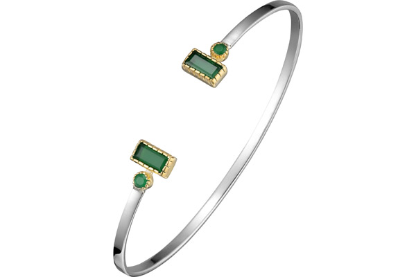 Bracelet jonc rectangle en argent 925, dorure en or, Onyx, vert, 6.2g, Ø55mm Canyon