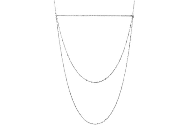 Collier plastron en argent 925 passivé, brillants, 6.4g Canyon