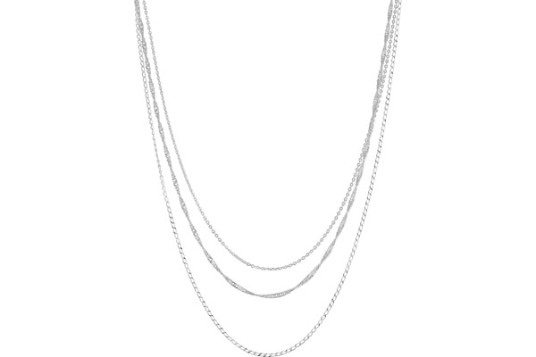Collier ras de cou 3 rangs en argent 925, 5.17g Canyon