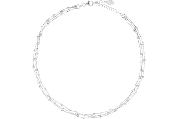 Collier ras de cou 3 rangs en argent 925, 10.3g Canyon
